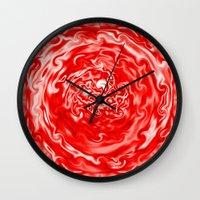 Red Swirl Topography Wall Clock