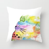 My Rainbow Totoro Throw Pillow