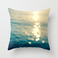 Blurred Tides Throw Pillow