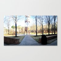 Clock Tower On Campus Canvas Print