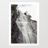 Waterfall Disperses Against the Rocks Art Print