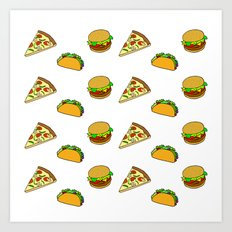 Pizza Taco Burger Patter… Art Print