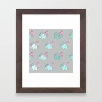 Elephant Love Walk Gray Framed Art Print