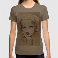 Marlene Dietrich  Womens Fitted Tee Tri-Coffee SMALL
