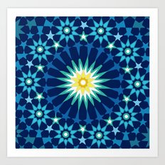 Sacred geometry Blue Art Print