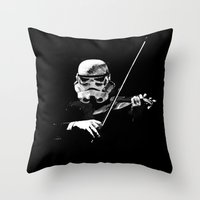 Dark Violinist Warrior Throw Pillow