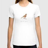 polka dot sparrow Womens Fitted Tee White SMALL