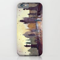 iPhone Cases featuring Prague, watercolor explorations in violet  by Jane-Beata