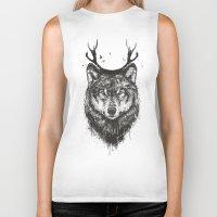 Deer wolf (b&w) Biker Tank