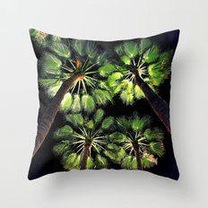 Palm Trees Night Walk Throw Pillow