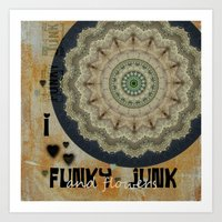 I Heart Funky Junk and Flowers Collage Art Print