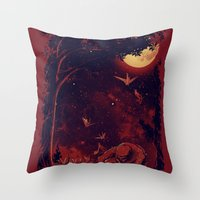 Night At The Origami Gar… Throw Pillow