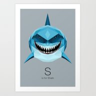 S Is For Shark Art Print