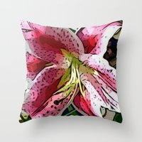Pink Day Lily Throw Pillow