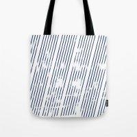 Grunge Blue stripes on white background illustration Tote Bag