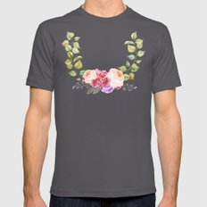 Watercolor Flower Wreath… Mens Fitted Tee Asphalt SMALL