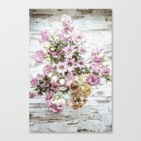 Chic Bouquet on Shabby Floor Canvas Print