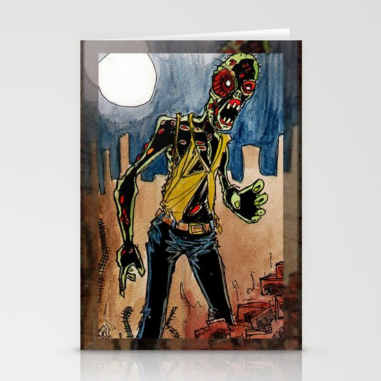 zombie in the ruins Stationery Card