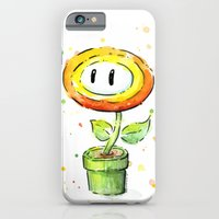 iPhone Cases featuring Fireflower Watercolor by Olechka