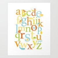Alphabet Animals - Sandb… Art Print