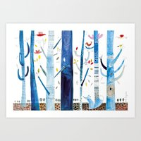 Fox in the forest. Art Print