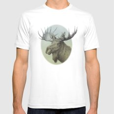 Moose head elk Mens Fitted Tee SMALL White