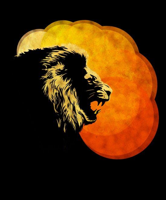 NIGHT PREDATOR : lion silhouette illustration print Art Print