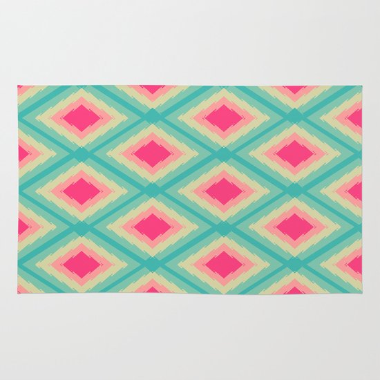 Geometric Ikat Pink Red Green Tribal Girly Pattern Rug By