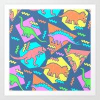 Nineties Dinosaur Patter… Art Print