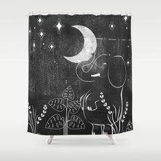 Elephant and Moon Shower Curtain