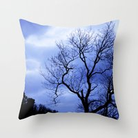 Blue Trees  - JUSTART © Throw Pillow