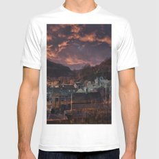 Doom Looms Around The Village White SMALL Mens Fitted Tee