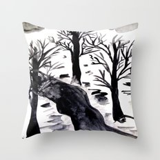 Black Crystall Frost Throw Pillow