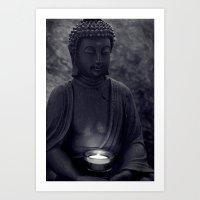 Buddha in the dark Art Print