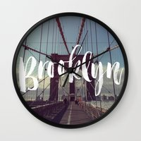 Brooklyn Bridge Photography and Calligraphy Wall Clock
