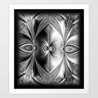 Abstract Peacock. Black+White. Art Print