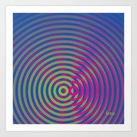 SoundWaves Lime/Magenta Art Print