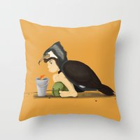 Little Black Cormorant Throw Pillow