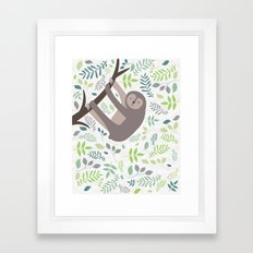Happy Sloth with Leaves Illsutration Framed Art Print