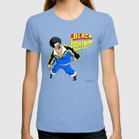 Black Lightning (Sinbad Version)  Womens Fitted Tee Tri-Blue SMALL
