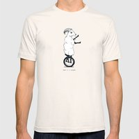Goat on a Unicycle (labeled) Mens Fitted Tee Natural SMALL