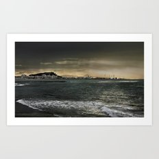 Storm in the sea Art Print