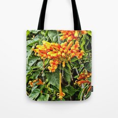Spectacular orange trumpet flower Tote Bag