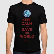 #iAmAHero - Keep Calm & Save the World SMALL Black Mens Fitted Tee