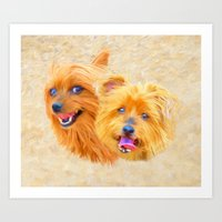 Yorkie Best Buddies Art Print