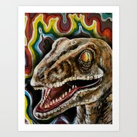 Rainbow Raptor:: Colorful Dinosaur Art Print