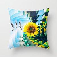 Soaring Bird Sunflower Throw Pillow