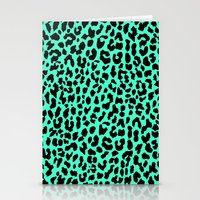 Neon Mint Leopard Stationery Cards