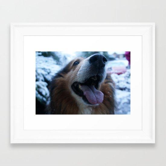 Puppy in fresh Snow Framed Art Print