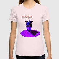 Psychedelic Cows Womens Fitted Tee Light Pink SMALL
